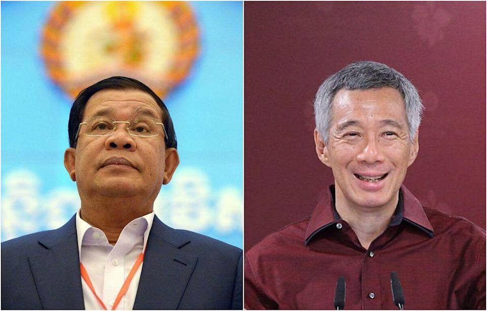 Cambodia Prime Minister Hun Sen (left) and Singapore Prime Minister Lee Hsien Loong (PHOTOS: Getty Image)
