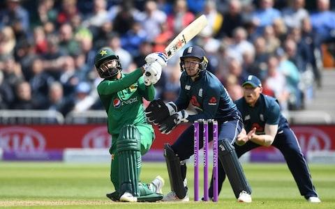 <span>Mohammad Hafeez makes 50 on his comeback from injury</span> <span>Credit: Gareth Copley/Getty Images </span>