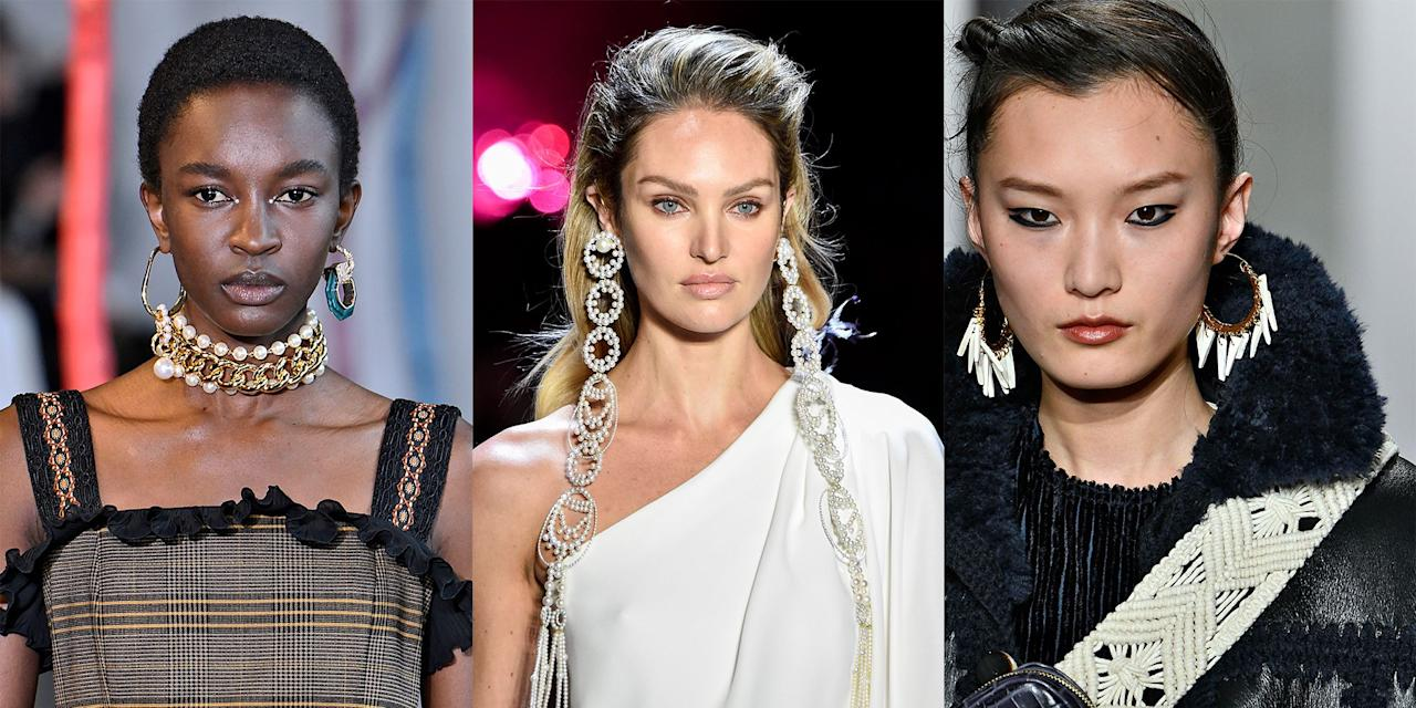 <p>Get ready to let your earrings do all the talking. As the Fall 2019 collections begin to make their way down the runways, one thing is already certain: the statement earring trend is about to reach new heights. From colorful crystals to bold mismatched earrings and over-the-top hoops, next season is making way for some major jewelry pieces. Check back as we spotlight all the best earrings, necklaces, and bracelets spotted on the runways in New York, London, Milan, and Paris. </p>