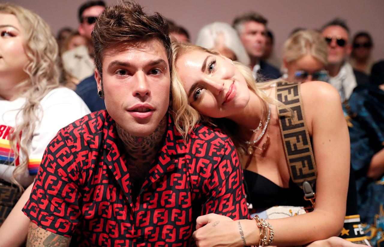 Italian fashion blogger Chiara Ferragni and her husband Italian rapper Fedez pose before Fendi's show during Milan Fashion Week Spring 2019 in Milan, Italy, September 20, 2018. REUTERS/Stefano Rellandini