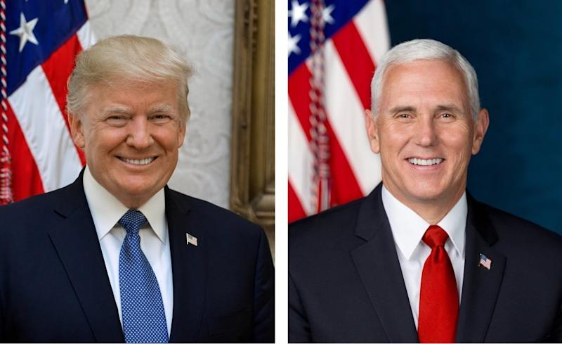 President Donald Trump, left, and Vice President Mike Pence in their newly released White House portraits.  (The White House)