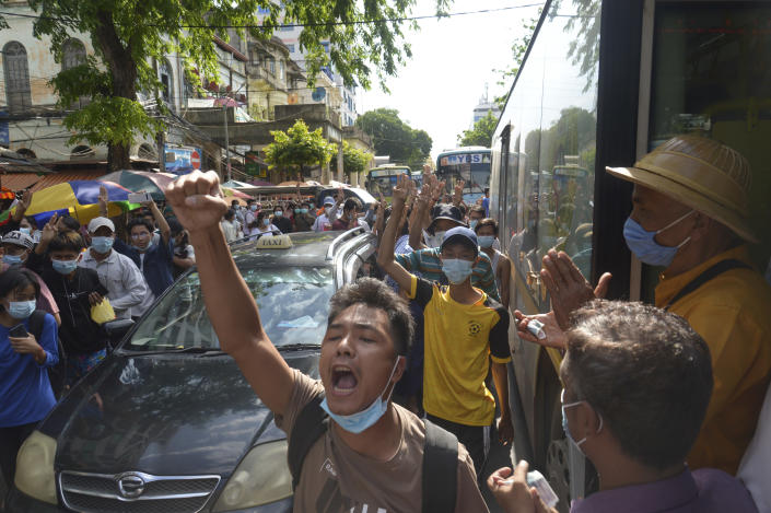 Anti-coup protesters shout slogans during a demonstration on Thursday, May 6, 2021, in Yangon, Myanmar. More than 200 global organizations urged the U.N. Security Council on Wednesday, May 5, 2021, to impose an arms embargo on Myanmar, saying the time for statements has passed and immediate action is needed to help protect peaceful protesters against military rule and other opponents of the junta. (AP Photo)