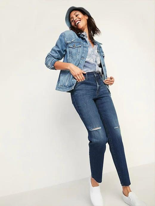 <p>These <span>Old Navy High-Waisted O.G. Straight Ripped Cut-Off Jeans for Women</span> ($45, originally $50) have just-enough fading and tears to look lived in . . . but not <em>too</em> lived-in.</p>