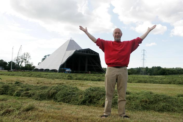 Behind the scenes at Glastonbury with Michael Eavis in 2005. (Photo by Andy Willsher/Redferns/Getty Images)