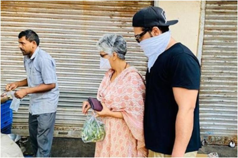 COVID-19: Paras Chhabra Buys Vegetables with Mother as Both Cover Faces Amid Total Lockdown