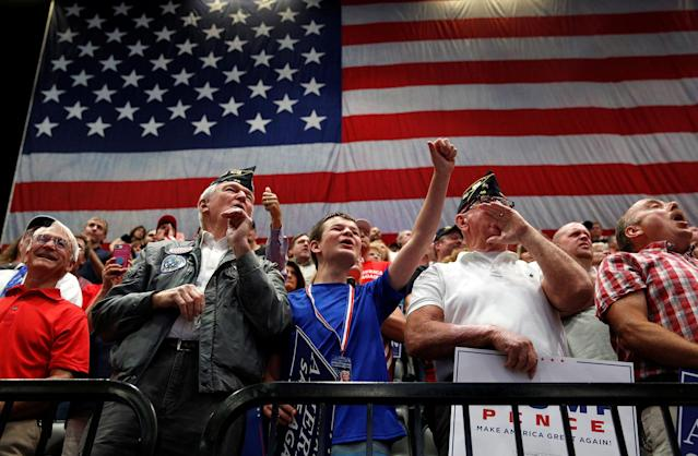 <p>Supporters cheer as President Donald Trump speaks during a rally at the U.S. Cellular Center in Cedar Rapids, Iowa, June 21, 2017. (Photo: Scott Morgan/Reuters) </p>