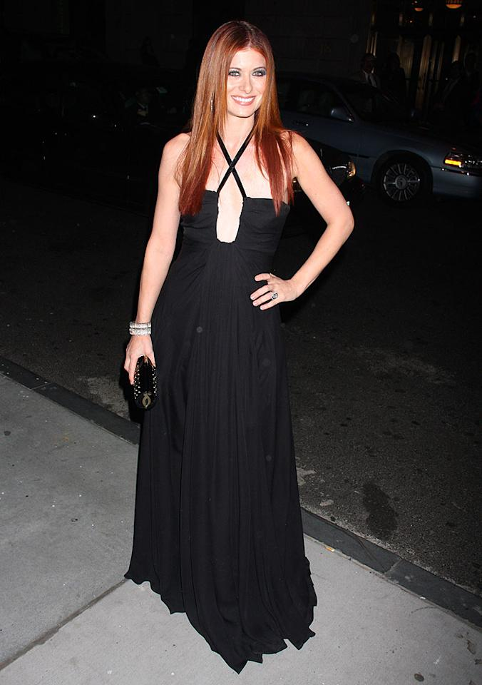 """Debra Messing is all smiles in her beautiful black halter dress. We also happen to love her sexy straightened locks! Dara Kushner/<a href=""""http://www.infdaily.com"""" target=""""new"""">INFDaily.com</a> - October 23, 2008"""
