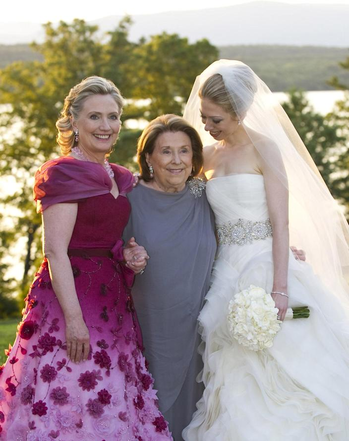 <p>Secretary of State Hillary Clinton and her mother, Dorothy Rodham, pose with Chelsea Clinton at her wedding to Marc Mezvinsky at the Astor Courts Estate in July 2010 in Rhinebeck, N.Y. (Photo: Barbara Kinney/FilmMagic/Getty)</p>
