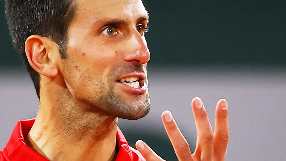 Novak Djokovic, pictured here in action against Stefanos Tsitsipas in the French Open semi-finals.