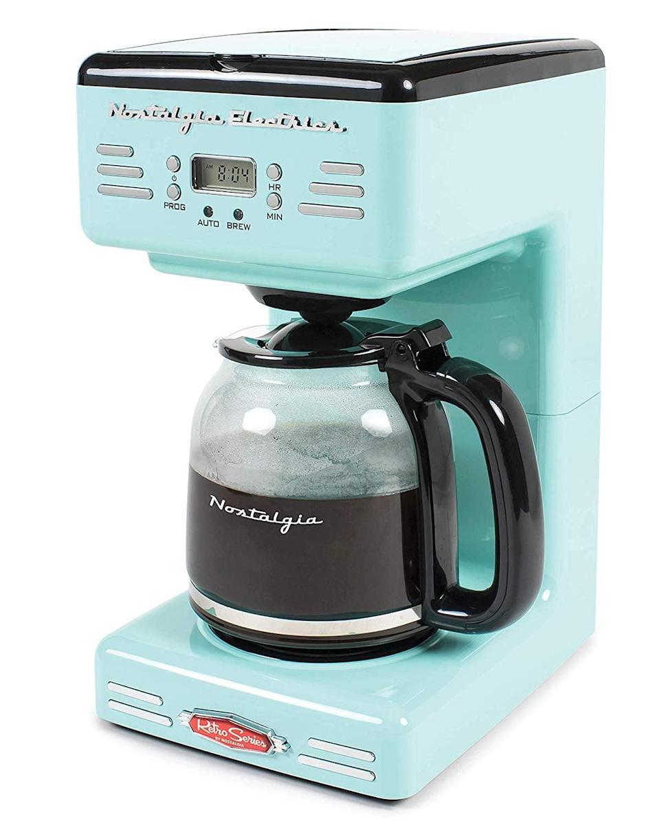 <p>Go for a vintage vibe with this <span>Nostalgia 12-Cup Programmable Coffee Maker</span> ($75).</p>