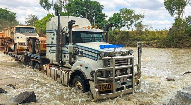 The truck driver was not to be intimidated by the four-metre croc. Source: Instagram/tommy_watkins