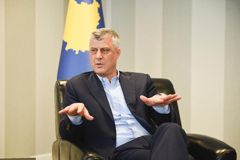 Kosovo's president-elect Hashim Thaci speaks during an interview with AFP in Pristina, on February 3, 2016 (AFP Photo/Armend Nimani)