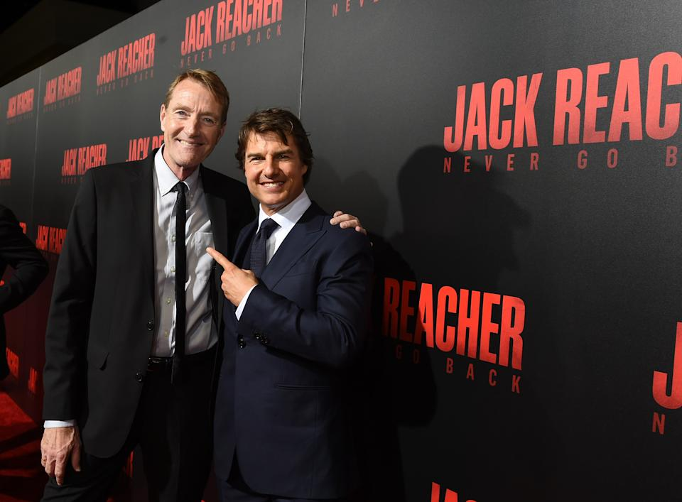 "Lee Child and Tom Cruise attend the fan screening of  ""Jack Reacher: Never Go Back"", on October 16, 2016. (Photo by Erika Goldring/Getty Images for Paramount Pictures)"