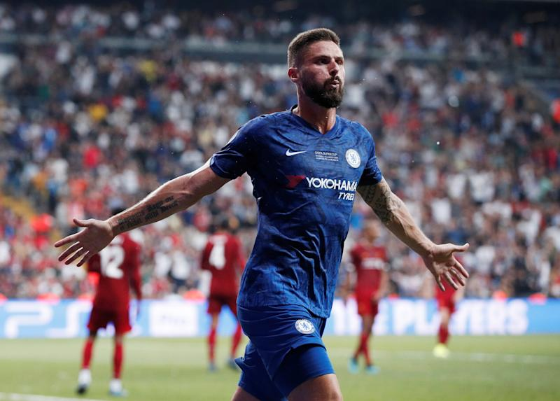 Soccer Football - UEFA Super Cup - Liverpool v Chelsea - Vodafone Arena, Istanbul, Turkey - August 14, 2019 Chelsea's Olivier Giroud celebrates scoring their first goal Action Images via Reuters/John Sibley