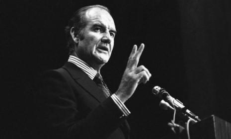 In January 1971, Sen. George McGovern speaks at the University of the Pacific in Stockton, Calif.