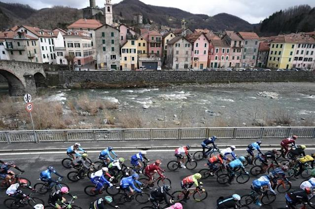 The pack rides in Campo Ligure during the 109th edition of the Milan - San Remo cycling race on March 17, 2018