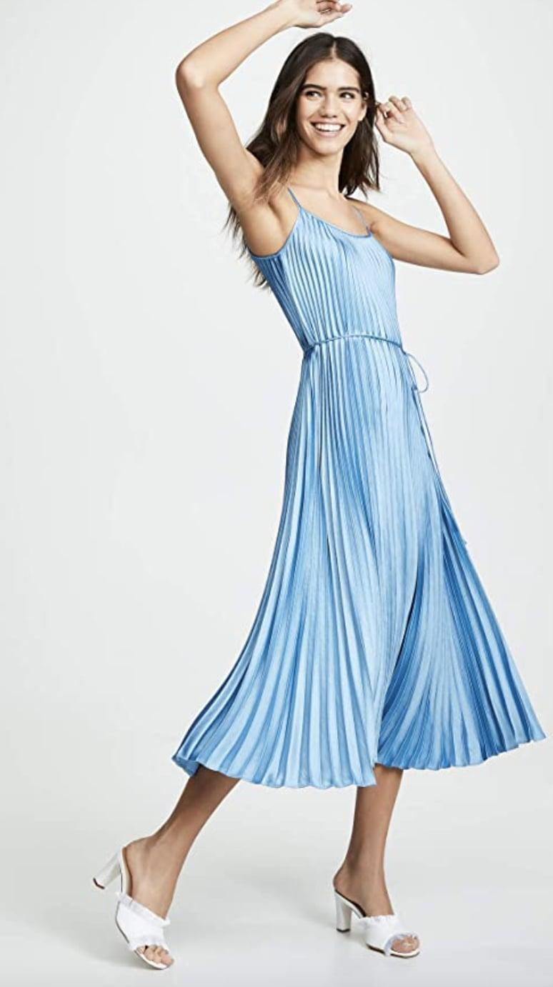 <p>This top-rated <span>Vince Pleated Cami Dress</span> ($249) is elegant and festive.</p>