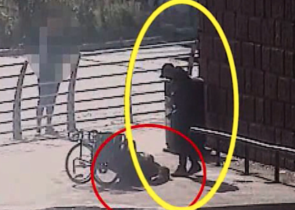 A CCTV grab shows Mairs on the floor after Sharples tipped his wheelchair. (Cheshire Police)
