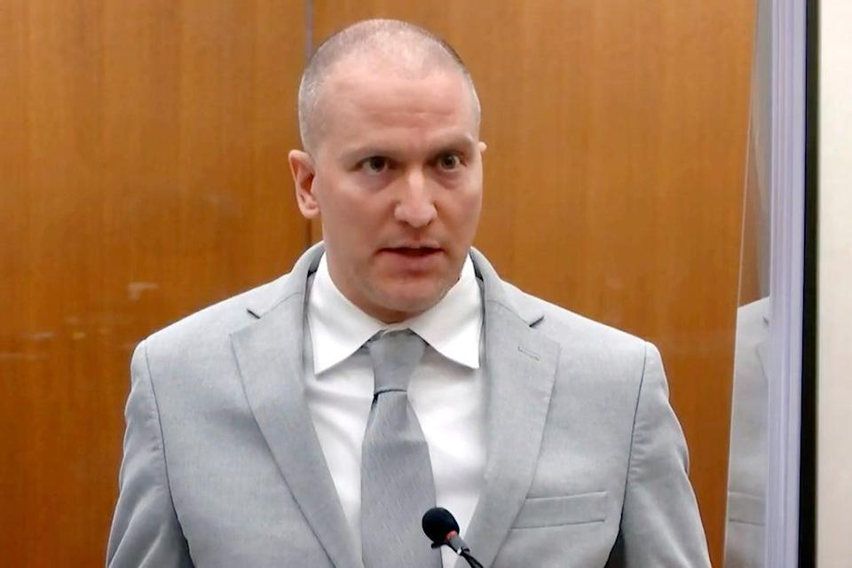 Derek Chauvin addresses the Hennepin County court at his sentencing hearing in June (AP)