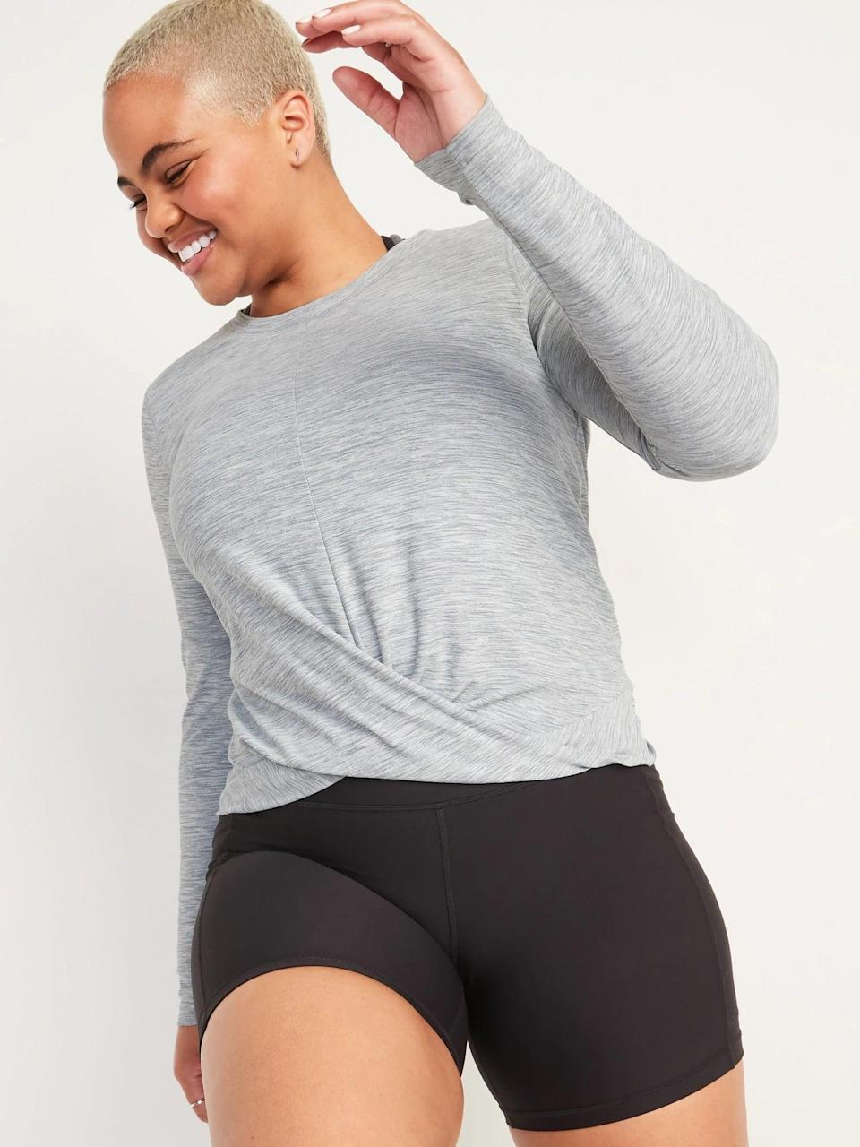 <p>Don't be fooled by the long sleeves as this <span>Old Navy Relaxed Breathe ON Twist-Hem Cropped Top</span> ($14-$18, originally $27) is very breathable all year long.</p>