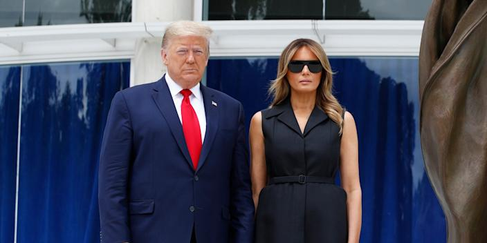 President Donald Trump and first lady Melania Trump visit Saint John Paul II National Shrine, Tuesday, June 2, 2020, in Washington. (AP Photo/Patrick Semansky)