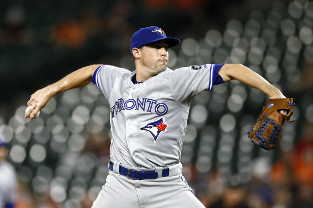 Toronto Blue Jays starting pitcher Aaron Sanchez throws to the Baltimore Orioles in the second inning of a baseball game, Tuesday, Sept. 18, 2018, in Baltimore. (AP Photo/Patrick Semansky)