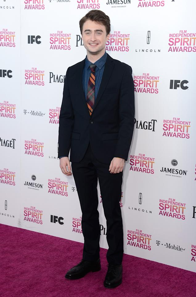 SANTA MONICA, CA - FEBRUARY 23: Actor Daniel Radcliffe attends the 2013 Film Independent Spirit Awards at Santa Monica Beach on February 23, 2013 in Santa Monica, California.  (Photo by Frazer Harrison/Getty Images)