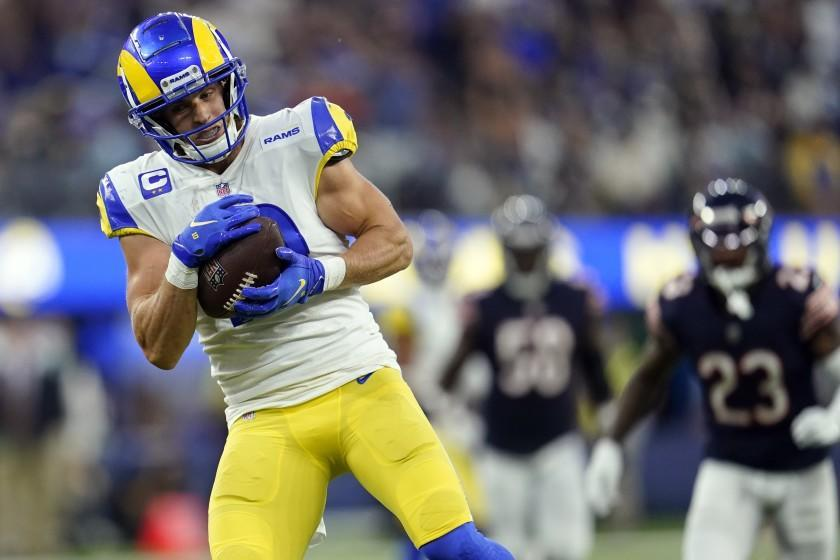 Los Angeles Rams wide receiver Cooper Kupp hauls in a pass on his way to scoring a touchdown during the second half of an NFL football game against the Chicago Bears, Sunday, Sept. 12, 2021, in Inglewood, Calif. (AP Photo/Marcio Jose Sanchez)
