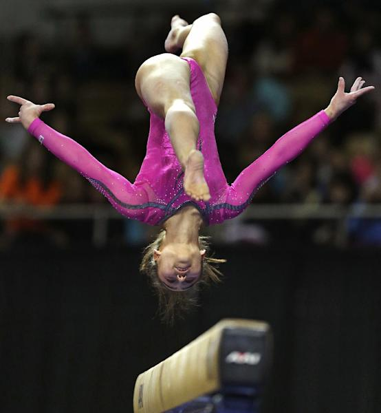 Katelyn Ohashi, of the United States, performs on the balance beam during the American Cup gymnastics competition in Worcester, Mass., Saturday, March 2, 2013. Ohashi won the event. (AP Photo/Charles Krupa)