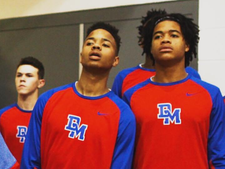 Markelle Fultz and Chase Young look on before a DeMatha Catholic High School basketball game. (Photo credit: Mike Jones)