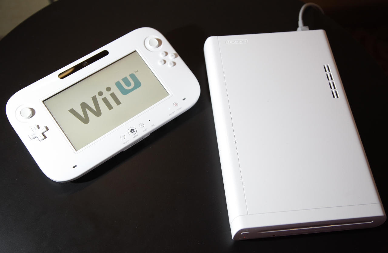 <p>               The new WiiU console is seen at the 2012 International CES tradeshow, Tuesday, Jan. 10, 2012, in Las Vegas.  (AP Photo/Julie Jacobson)
