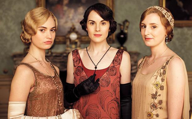 Pictured: LILY JAMES as Lady Rose, MICHELLE DOCKERY as Lady Mary Crawley and LAURA CARMICHAEL as Lady Edith Crawley.