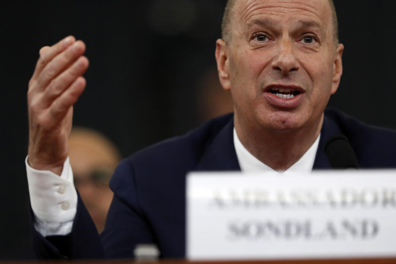 U.S. Ambassador to the European Union Gordon Sondland testifies before the House Intelligence Committee on Capitol Hill in Washington, Nov. 20, 2019, during a public impeachment hearing of President Donald Trump's efforts to tie U.S. aid for Ukraine to investigations of his political opponents. (Photo: Andrew Harnik/AP)