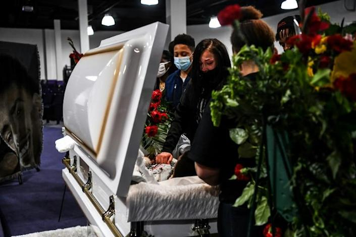 Mourners attend the public viewing of the open casket of Daunte Wright at Shiloh Temple International Ministries in Minneapolis, Minnesota