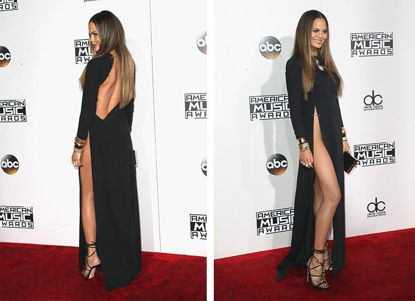<p>Chrissy Teigen wasn't up for any awards at the AMAs but she might've won one anyway. Her black dress's slit might've been the highest one ever made, reaching all the way up past her hip, and was secured in place with a gold safety pin. <em>(Photo: Getty Images)</em> </p>