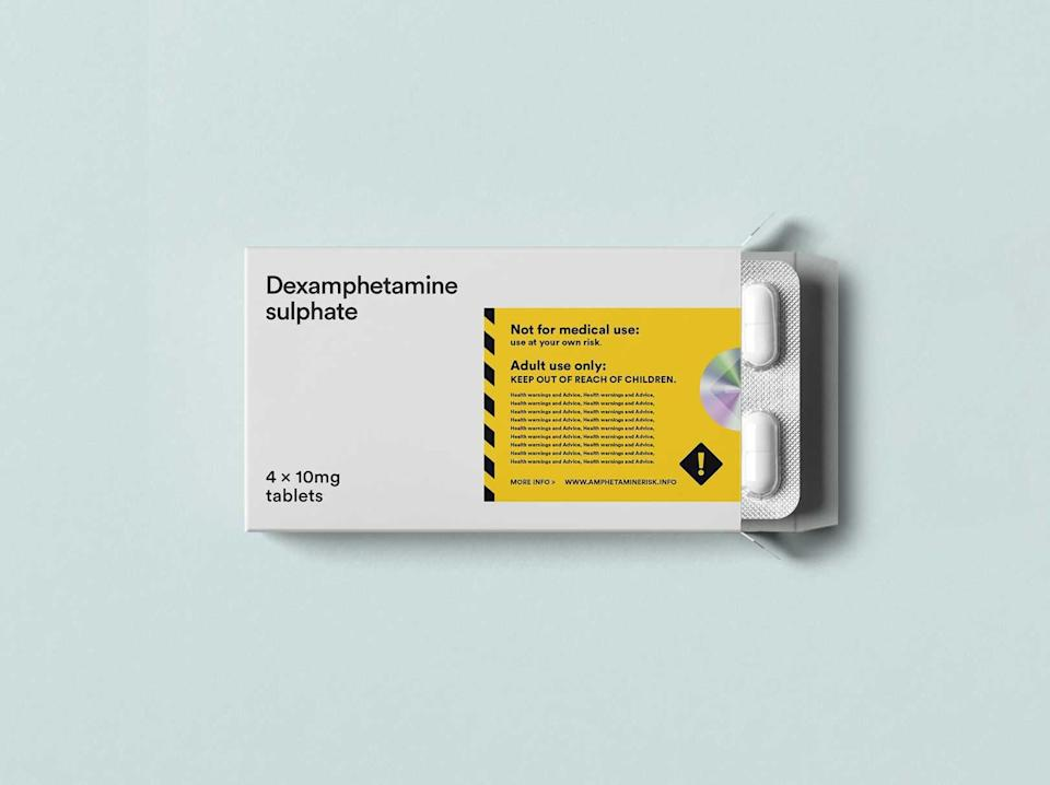 Mock packaging for legally-sold amphetamine, advocated by Transform charityTransform