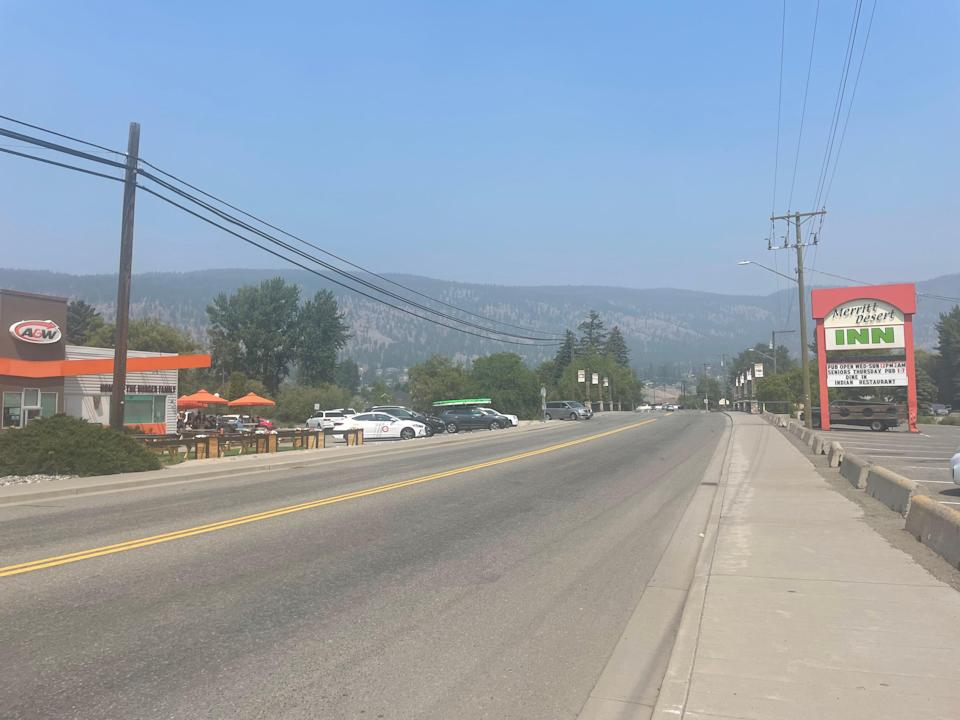 The main street of Merritt, 100 kilometres east of Lytton, the village that was razed to the ground by wildfires earlier this week (Ashleigh Stewart)