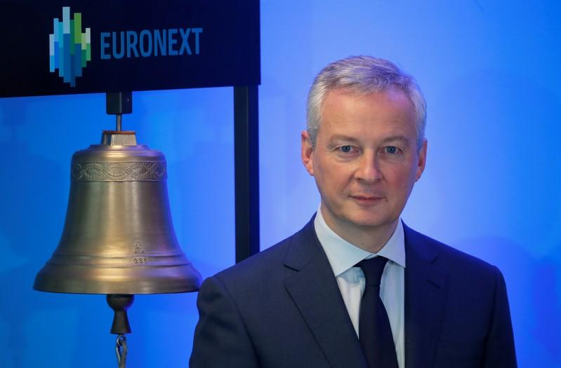 Debut of Francaise des Jeux on Euronext Paris stock market in Courbevoie near Paris