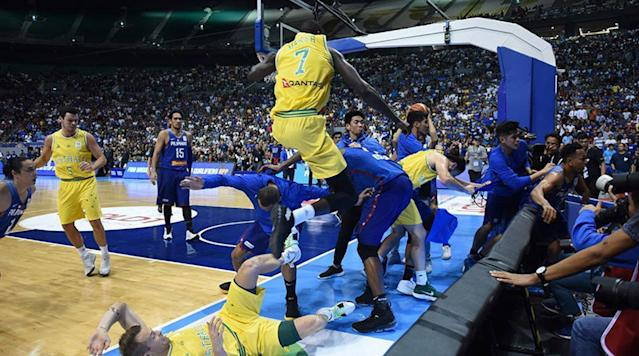 Basketball took a back seat on Monday during the FIBA World Cup qualifying game between Australia and Gilas Pilipinas when a massive brawl broke out.