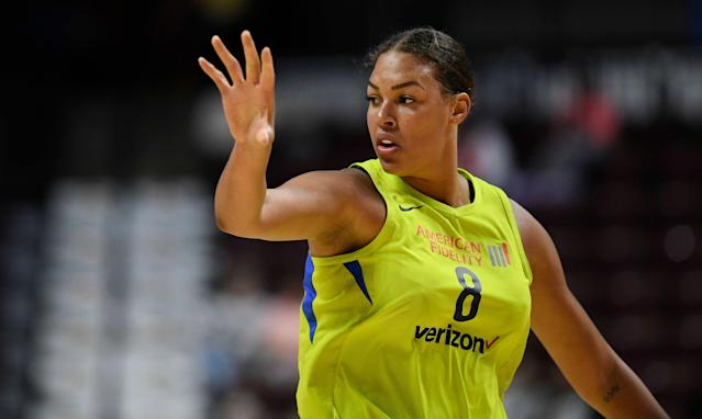 "The Dallas Wings traded star <a class=""link rapid-noclick-resp"" href=""/wnba/players/4840/"" data-ylk=""slk:Liz Cambage"">Liz Cambage</a> to the <a class=""link rapid-noclick-resp"" href=""/wnba/teams/sas"" data-ylk=""slk:Las Vegas Aces"">Las Vegas Aces</a> on Monday night, several months after the center requested a trade. (AP/Jessica Hill)"