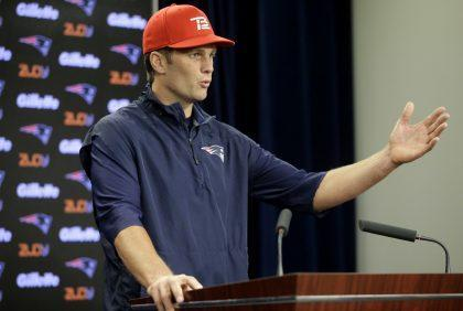 Tom Brady can't talk at a New England Patriots press conference — or do much else — during his suspension (AP).