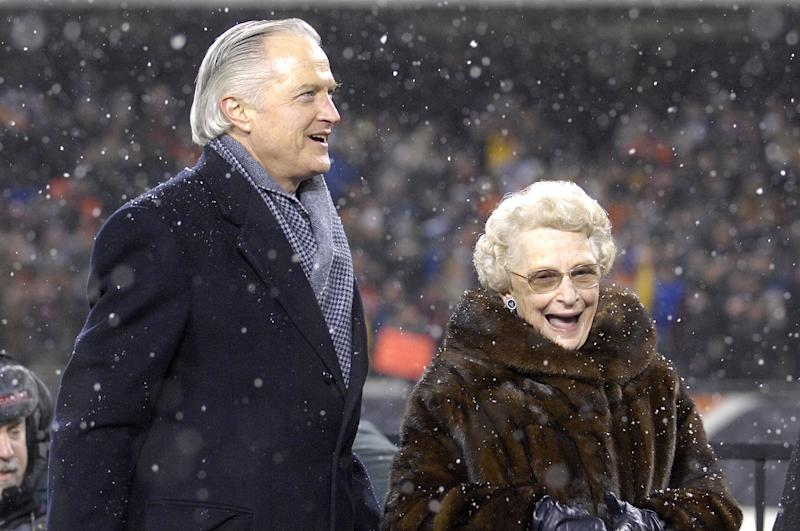 Michael McCaskey and Virginia McCaskey after the Bears won the 2007 NFC Championship game between the Chicago Bears and New Orleans Saints at Soldier Field in Chicago, Illinois on January 21, 2007. (Photo by Al Messerschmidt/Getty Images)