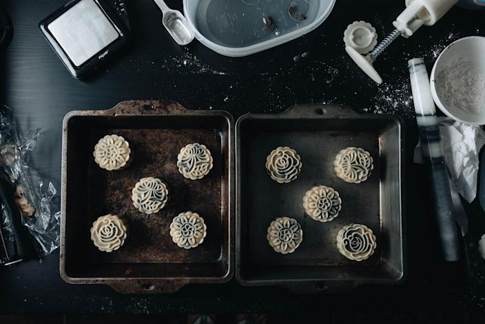 Mooncakes can be made in multiple batches with different fillings and pressed with different patterns. (Courtesy Maggie Zhu)
