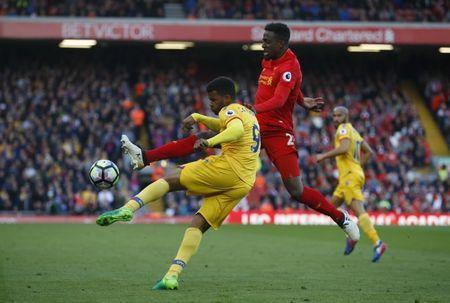 Britain Football Soccer - Liverpool v Crystal Palace - Premier League - Anfield - 23/4/17 Crystal Palace's Fraizer Campbell in action with Liverpool's Divock Origi Reuters / Phil Noble Livepic