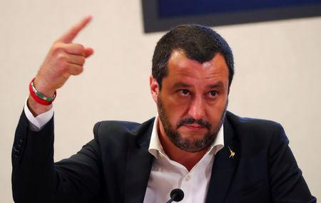 FILE PHOTO: Italian Interior Minister Matteo Salvini gestures during a news conference in Rome