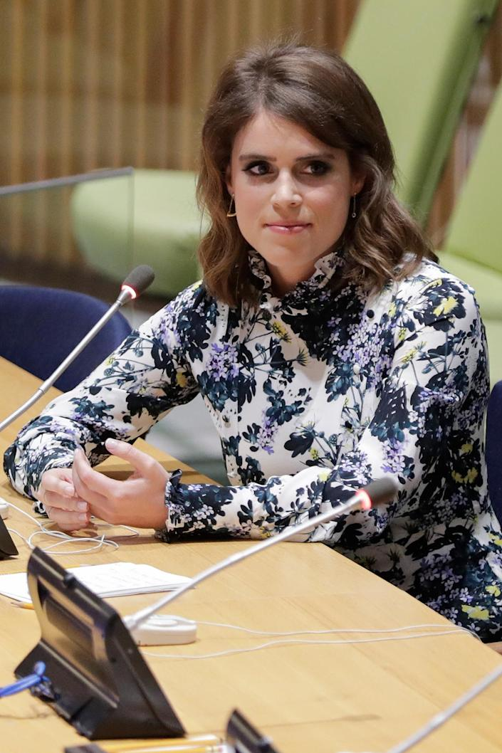 """<p>In July 2018, Princess Eugenie stopped by the United Nations Headquarters in New York City, where she <a href=""""https://people.com/royals/princess-eugenie-un-conference-modern-slavery-with-princess-beatrice/"""" rel=""""nofollow noopener"""" target=""""_blank"""" data-ylk=""""slk:spoke about her work as Director of the Anti-Slavery Collective"""" class=""""link rapid-noclick-resp"""">spoke about her work as Director of the Anti-Slavery Collective</a> during the NEXUS Meeting. </p>"""