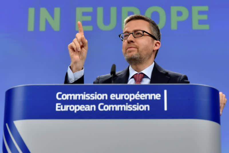 FILE PHOTO: EU Commissioner Moedas gestures during a news conference on the launch of VentureEU in Brussels,