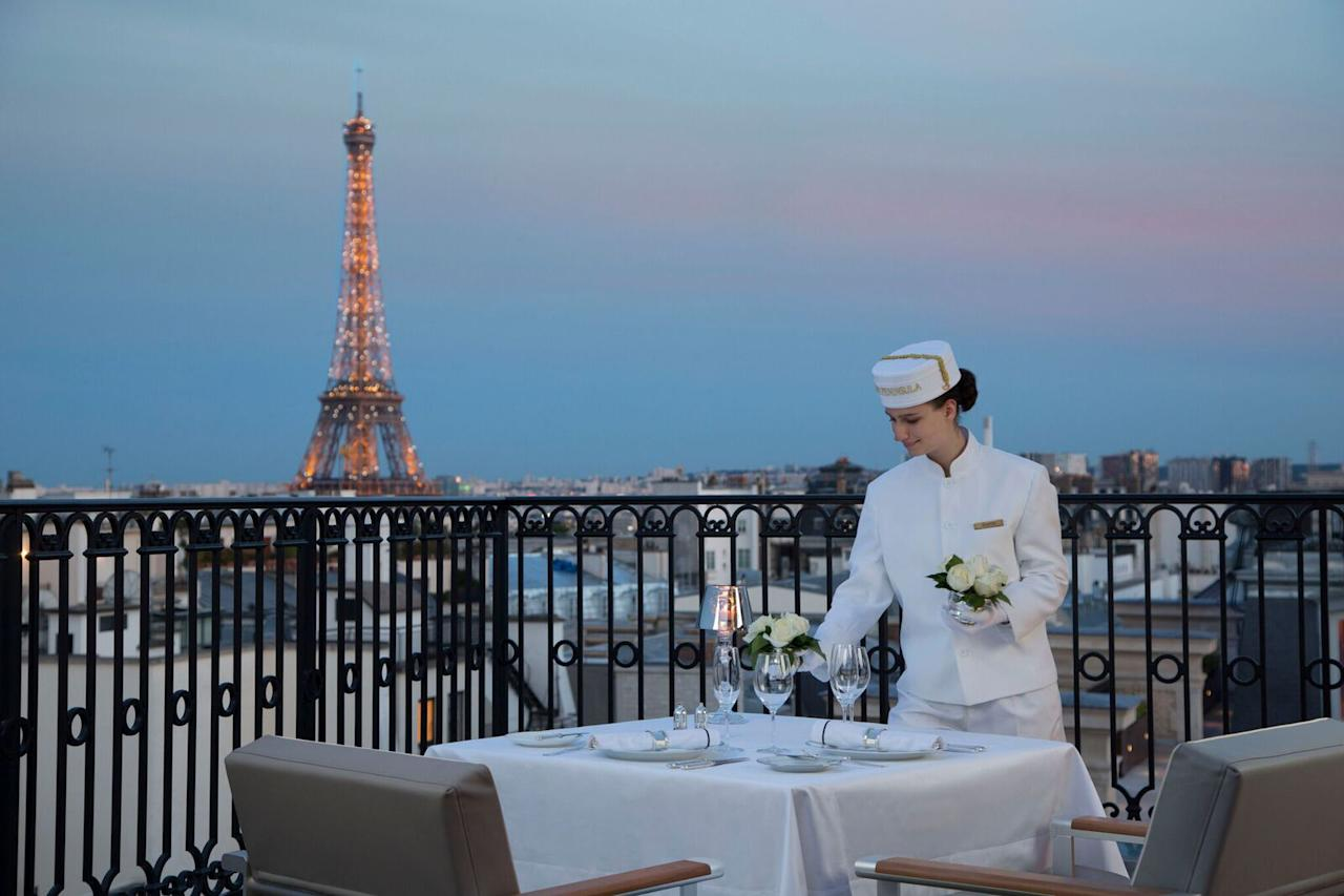 """<p>Wine and dine in the most romantic city in the world during a magical moment in a private hideaway, high over the rooftops of Paris. Sit at a single table for two on a private rooftop terrace while indulging in a gastronomic dinner under the stars (with the Eiffel Tower as your backdrop). A personalized butler service and bespoke wine pairing seals the deal. ($750 per person, <a rel=""""nofollow"""" href=""""http://paris.peninsula.com/en/special-offers/from-peninsula-with-love"""">peninsula.com</a>).</p>"""