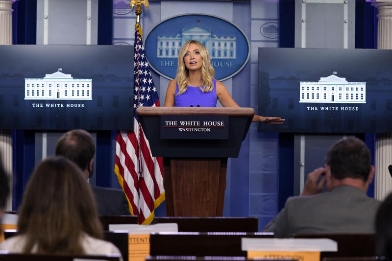 White House press secretary Kayleigh McEnany speaks during a briefing at the White House, Thursday, May 28, 2020, in Washington. (Evan Vucci/AP Photo)