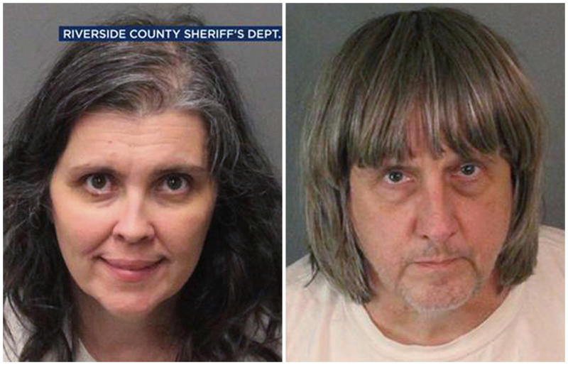 These Sunday, Jan. 14, 2018, photos provided by the Riverside County Sheriff's Department show Louise Anna Turpin, left, and David Allen Turpin. Authorities say an emaciated teenager led deputies to a Perris, Calif., home where her 12 brothers and sisters were locked up in filthy conditions, with some of them malnourished and chained to beds. Riverside County sheriff's deputies arrested the parents David Allen Turpin and Louise Anna Turpin on Sunday. The parents could face charges including torture and child endangerment. (Riverside County Sheriff's Department via AP)